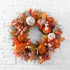 Velvet Pumpkin and Leaf Fall Wreath