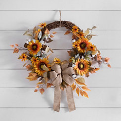 Sunflower, Cotton, and Burlap Fall Wreath