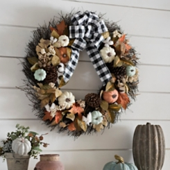 Buffalo Check Bow and Pumpkin Fall Wreath