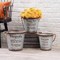 Rope Handle Galvanized Metal Buckets, Set of 3