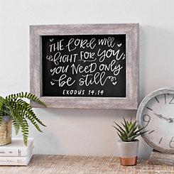 Chalkboard Exodus 14:14 Framed Plaque