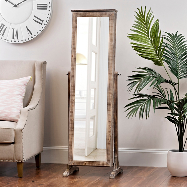 Natural Wood Tone Cheval Armoire Mirror