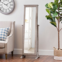 Gray Wood Tone Cheval Armoire Mirror