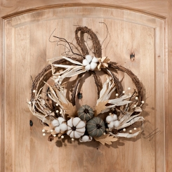 Rattan Pumpkin and Cotton Wall Hanger