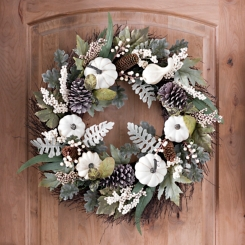 Cream Pumpkin and Greenery Fall Wreath