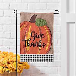 Orange Give Thanks Buffalo Check Flag Set
