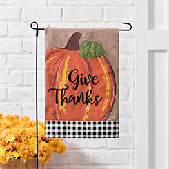 Orange Give Thanks Buffalo Check Flag Set