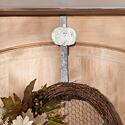 Cream Galvanized Metal Pumpkin Wreath Hanger