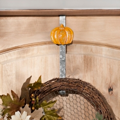 Orange Galvanized Metal Pumpkin Wreath Hanger