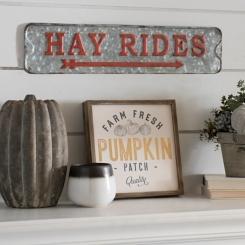 Galvanized Metal Hay Ride Sign