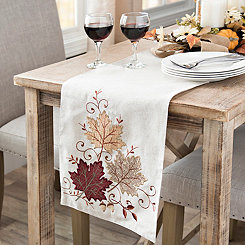 Cream Fall Leaves Table Runner