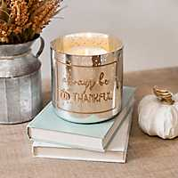 Always Be Thankful Glass Votive Holder