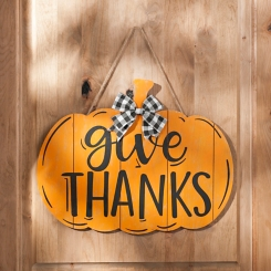 Orange Give Thanks Pumpkin Plaque