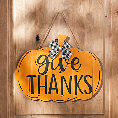 Orange Give Thanks Pumpkin Plaque
