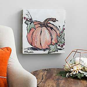Orange Pumpkin Sketch Canvas Art