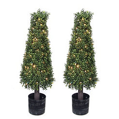 Pre-Lit Boxwood Cone Trees, Set of 2