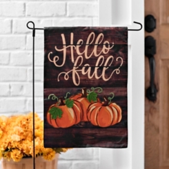 Brown Plank Hello Fall Flag Set