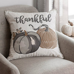 Gray and Tan Thankful Pumpkins Pillow