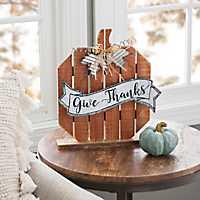 Orange Plank Pumpkin Tabletop Sign