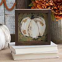 Green and Cream Pumpkin Framed Canvas Art