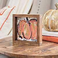 Cream and Orange Pumpkin Framed Canvas Art