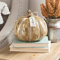 Gold Pumpkin with Grateful Hanging Tag