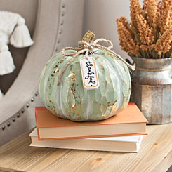 Blue Pumpkin with Thankful Hanging Tag