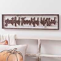 Grateful Thankful Blessed Brown Plank Plaque