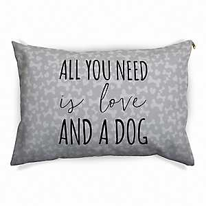 Gray All You Need is Love and a Dog Pet Bed
