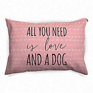 Pink All You Need is Love and a Dog Pet Bed