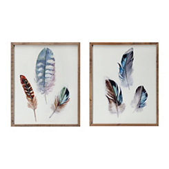 Watercolor Feather Framed Art Prints, Set of 2