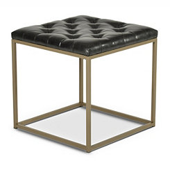 Glenda Black Faux Leather Accent Table