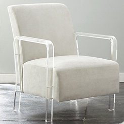 Tyra Ivory Upholstered Acrylic Accent Chair
