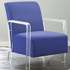 Tyra Blue Upholstered Acrylic Accent Chair