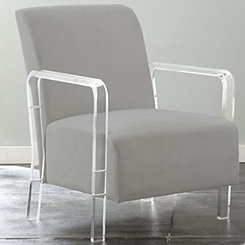Tyra Gray Upholstered Acrylic Accent Chair