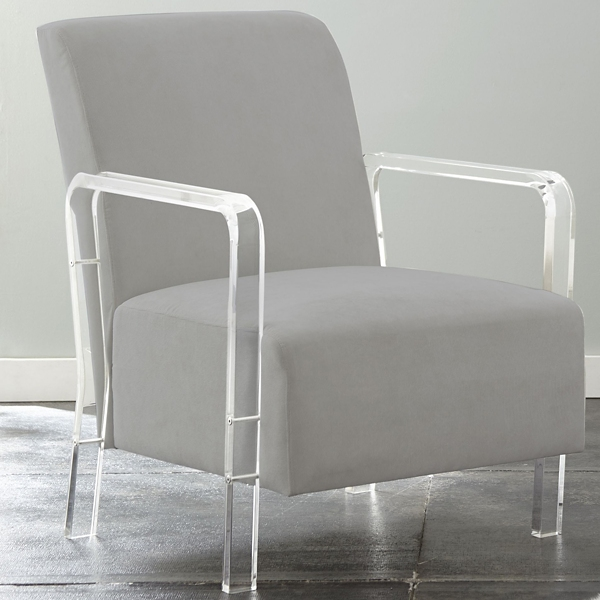 Genial Tyra Gray Upholstered Acrylic Accent Chair