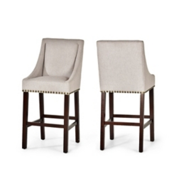 Jolie Taupe Upholstered Bar Stools, Set of 2