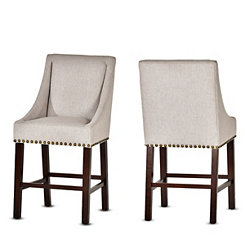 Jolie Taupe Upholstered Counter Stools, Set of 2
