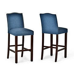 Elden Blue Upholstered Bar Stools, Set of 2