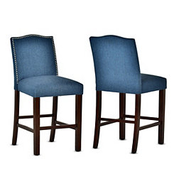 Elden Blue Upholstered Counter Stools, Set of 2