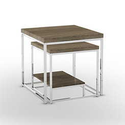 Lucia Chrome Nesting Tables, Set of 2