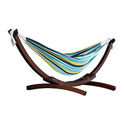 Cayo Reef Double Hammock with Wooden Stand