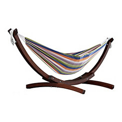 Retro Double Hammock with Wooden Stand