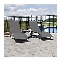 Gray Aluminum Loungers and Table, Set of 3