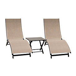 Macchiato Aluminum Loungers and Table, Set of 3