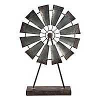 Galvanized Metal Windmill on Stand