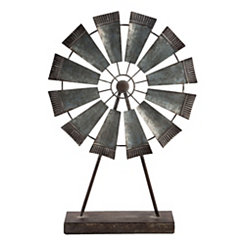 Galvanized Metal Windmill on Stand