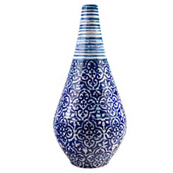 Blue Batik Ceramic Vase, 22 in.