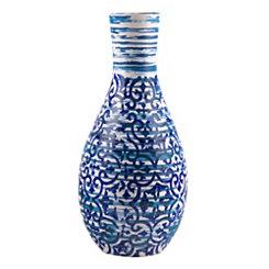 Blue Batik Ceramic Vase, 14 in.