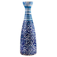 Blue Batik Ceramic Vase, 17 in.